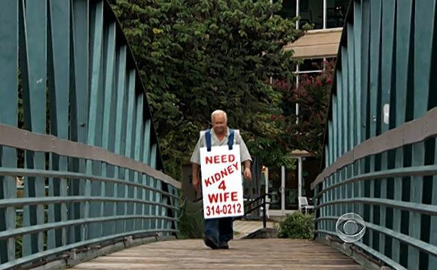 man wears sign that reads Need Kidney 4 Wife