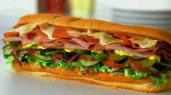 subway sandwich with cheese