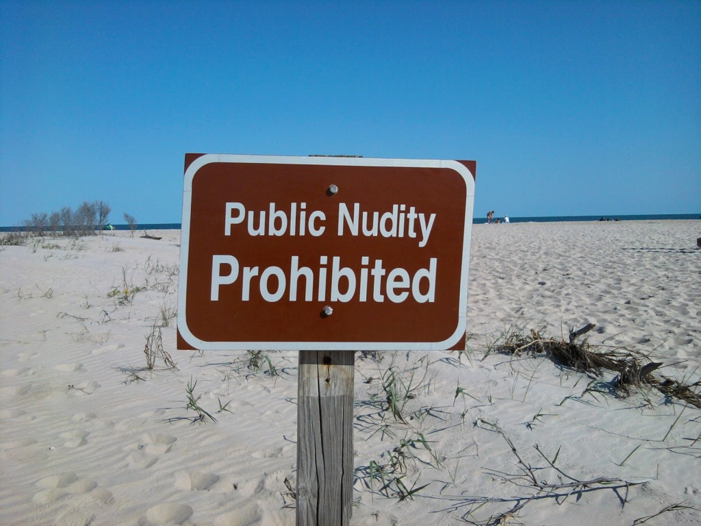 public nudity sign