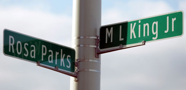 Street signs mark the corner of Rosa Parks Blvd and Martin Luther King Jr Blvd in Detroit